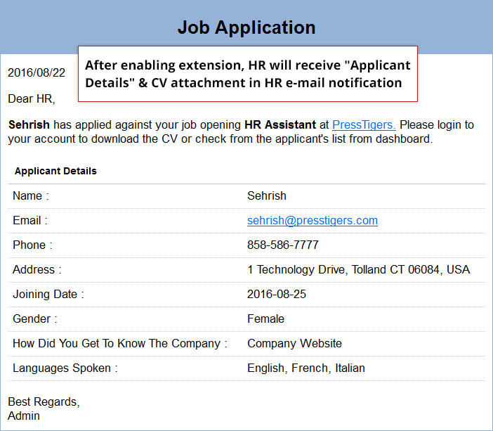 Email Template for HR. It also includes an attachment.