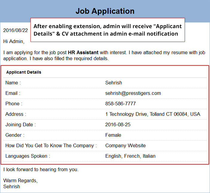 Email Template for Admin. It also includes an attachment.