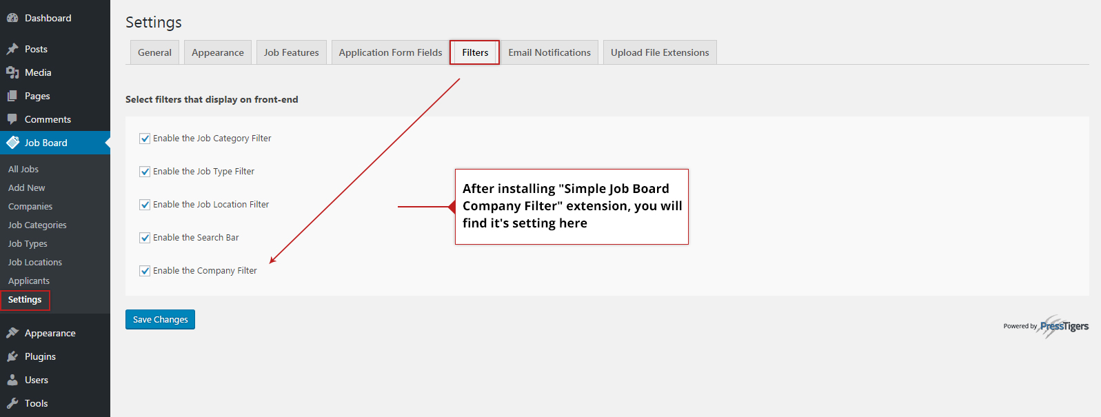 Company filter can be enabled and disabled for front end view