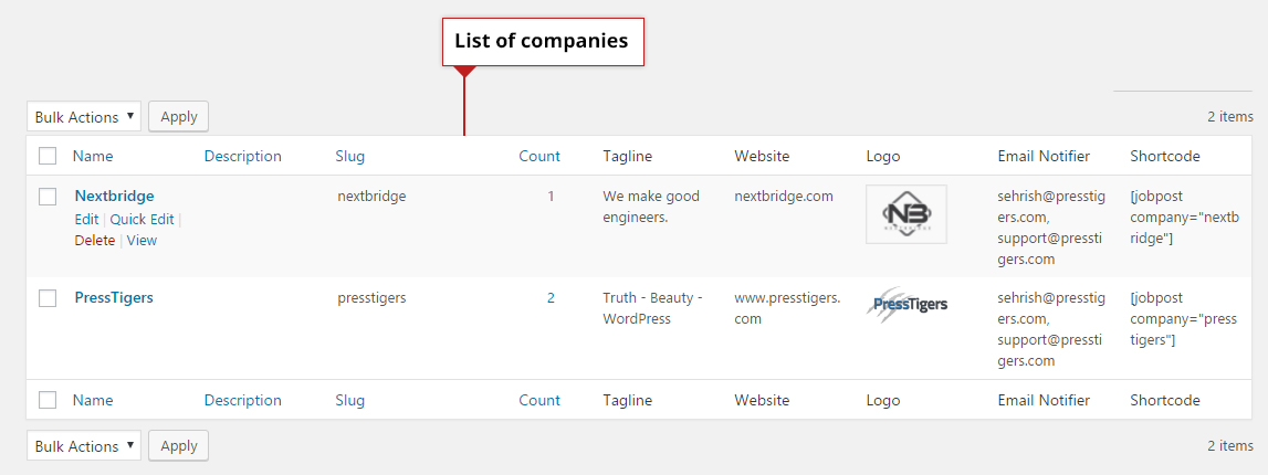 List of companies in admin panel