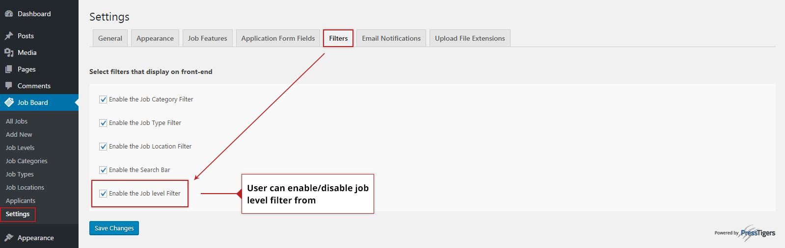 Job Level Filter on Simple Job Board Setting Tab