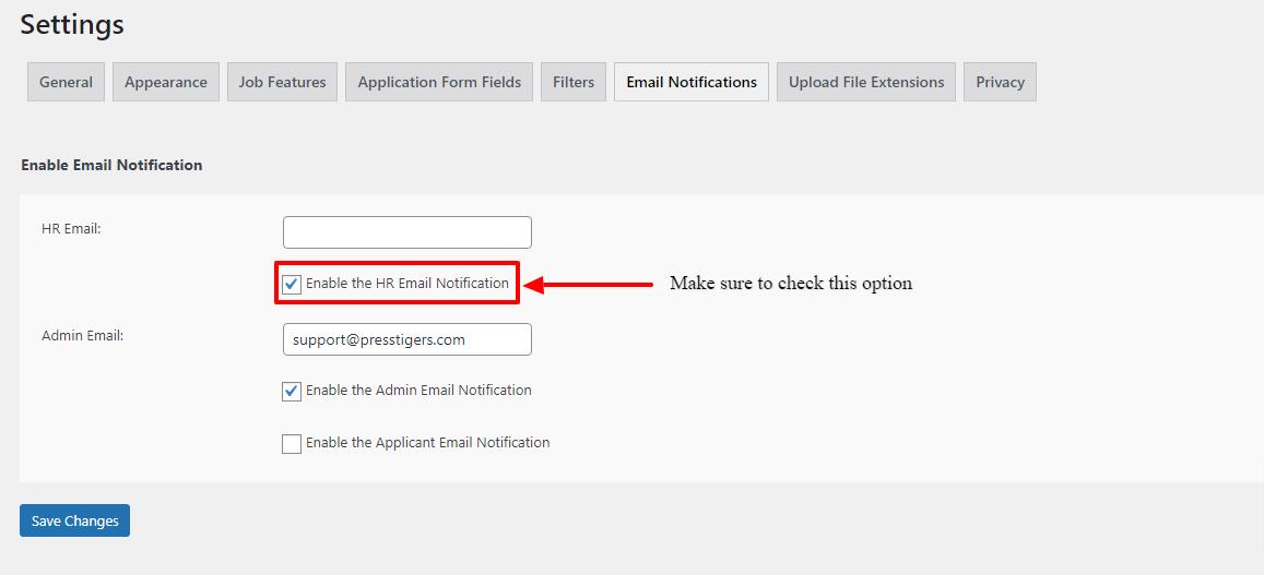 Category Base Hiring Email Settings