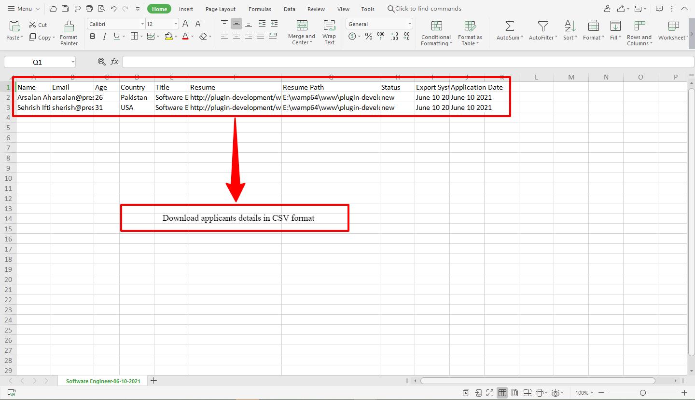 Export Applicant Details in Column Format