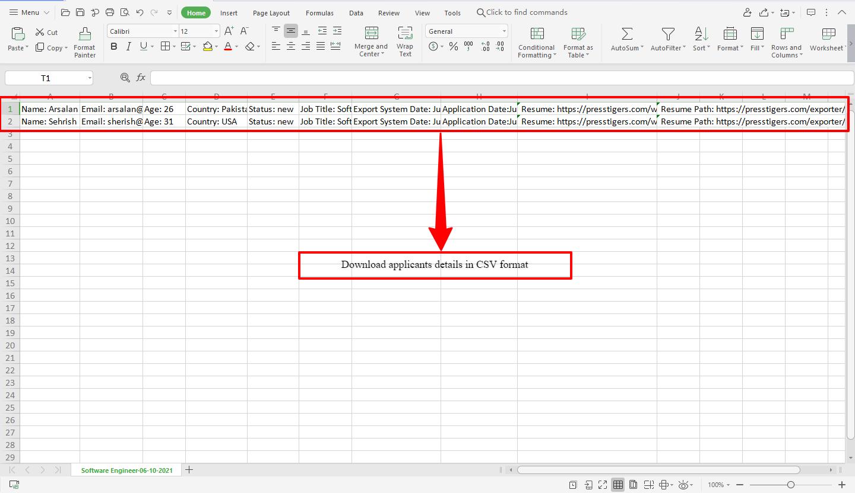Export Applicant CSV Key Label Format