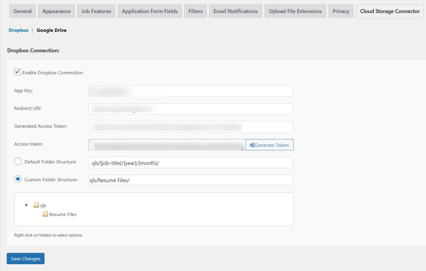 Dropbox Configuration Settings