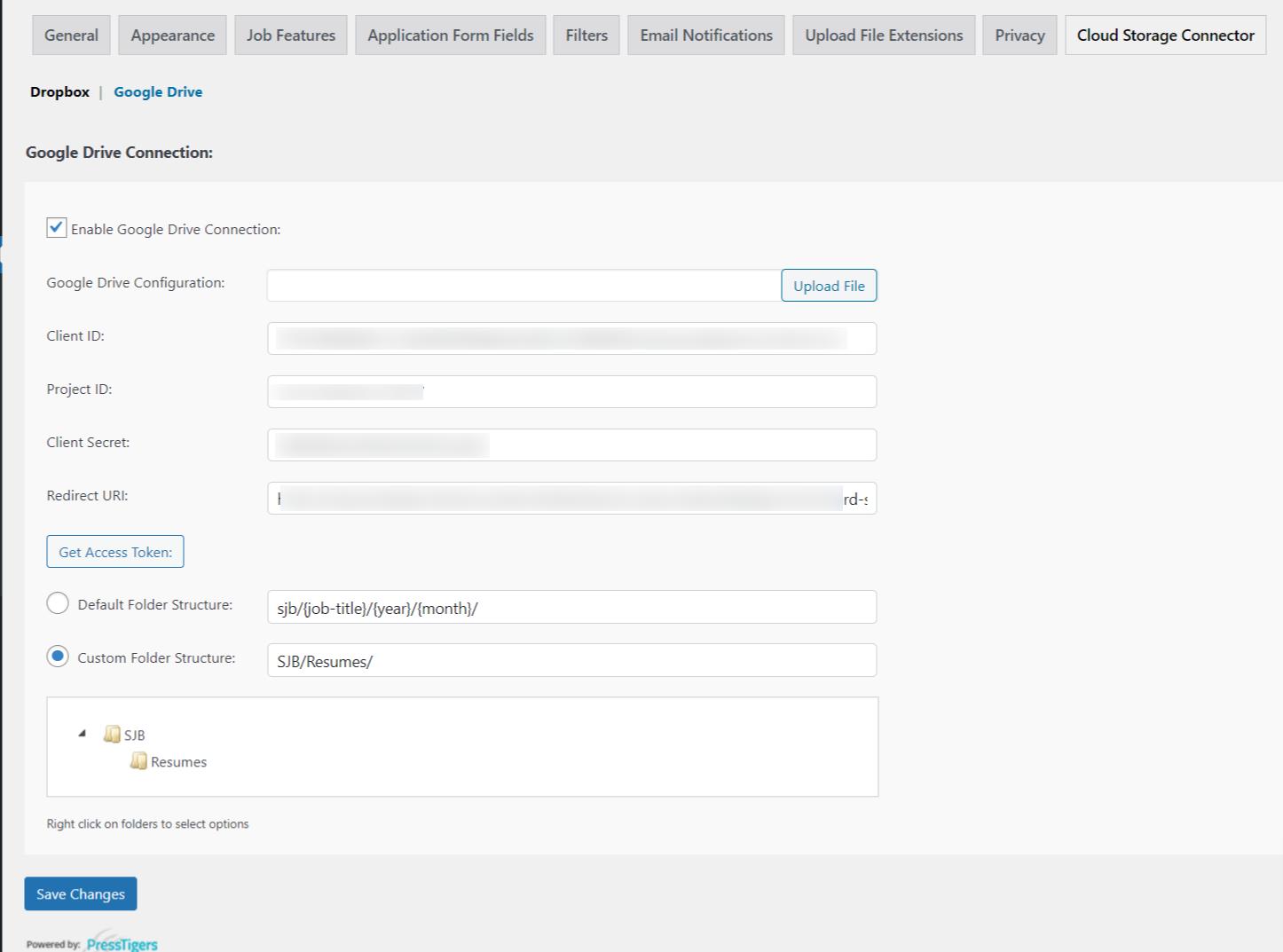 Google Drive Configuration Settings