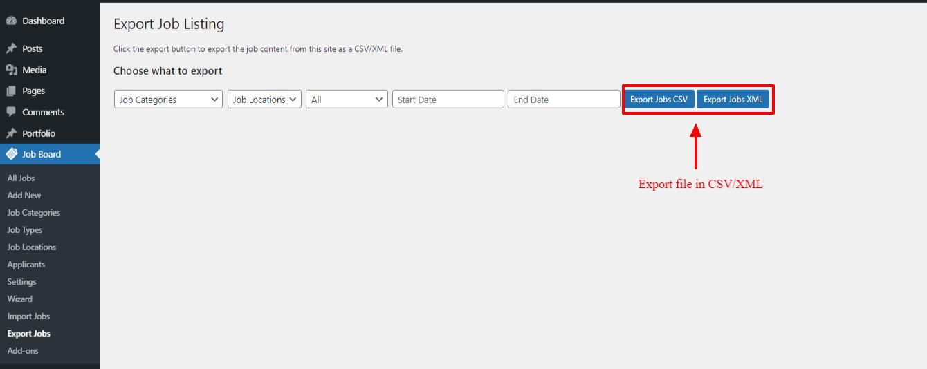 Export Job Listings as CSV/XML